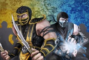 [Mortal Kombat] Scorpion and Sub Zero by Serebra-Krillia