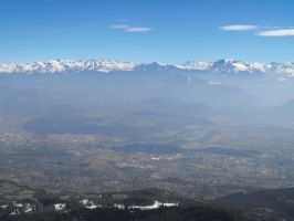 Smoggy Grenoble city and Alps Mountains by A1Z2E3R