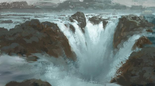 Waterfall rough painting by Takumer