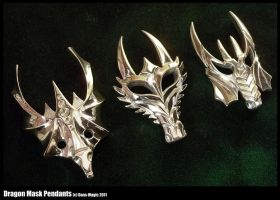 3 Dragon mask pendants by Dans-Magic