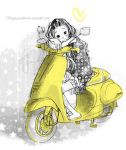 cute girl with yelow vespa by tuyetdinhsinhvat