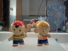 Munny: Ness and Lucas by jjsshoesxd