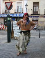 Gypsy girl barefoot in street by GypsyBarefootCecilia