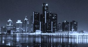 Blue Detroit Night Skyline by photofreak-stock