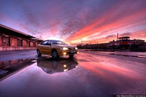 Megane cab sunset by msun