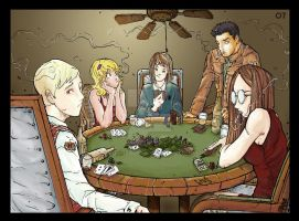 5 dogs playing poker by vash2005