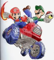 Mario and Luigi Kart by chibi22