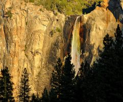 Bridal Veil Falls Sunset rainbow by kayaksailor
