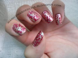 Golden-Red nails by kotobayaoi