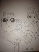 Po and Elsa (Uncolored) by Africa2000