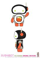 SUSHIBOT front and side view by pezbananadesign