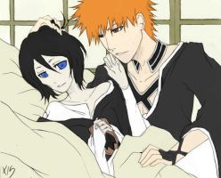 Ichigo and Rukia Colored by satanX15