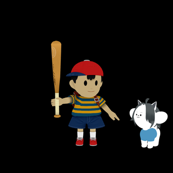 Ness and Temmie by SuperSmashCynderLum