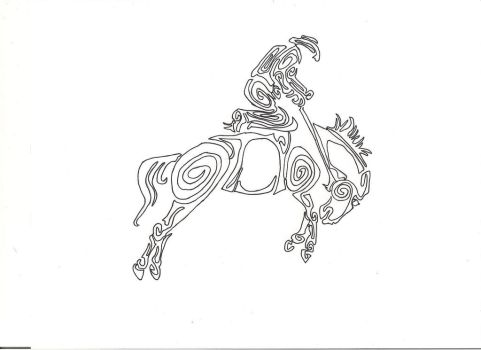saddle bronc riding, tribal tattoo design 2 by countrygirllover