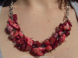 Pink and Red Necklace by MuffinSquee
