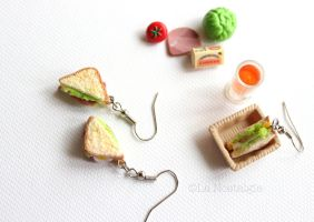 Miniature Sandwich Earrings Food Jewelry by LaNostalgie05