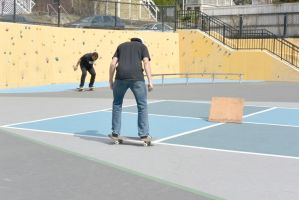 The Skateboarders In Ready Position by Miss-Tbones