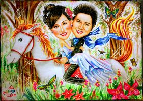Happy wedding caricature by AdelphoiA3