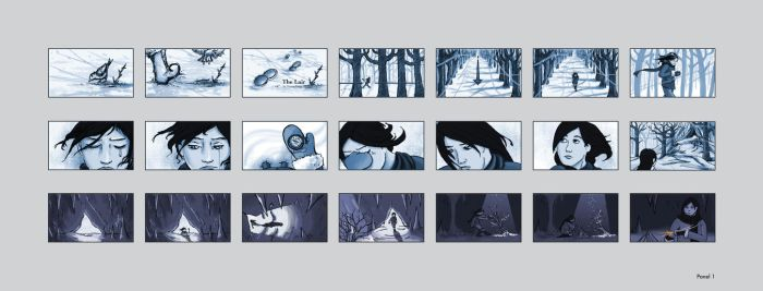 The Lair storyboards - panel 1 by astro-phase