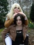 Piggy back ride Christa and Ymir by JewelsYoungheart