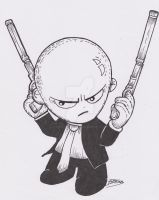 Agent 47 Black and white by SpaniardWithKnives