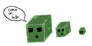 MineCraft Slimes Drawn By My Little Brother by B4ItWasMainstream