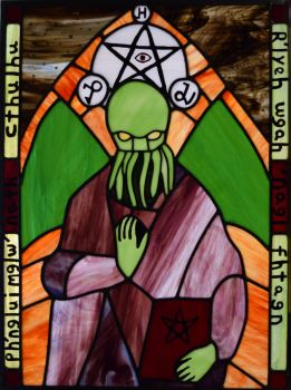 Medieval Cthulhu Leaded Stained Glass by AutobotWonko