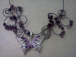 Purple Butterfly Necklace by LordPyxel