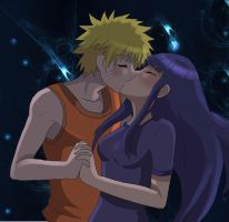 Naruto and Hinata kiss by AngelofHapiness