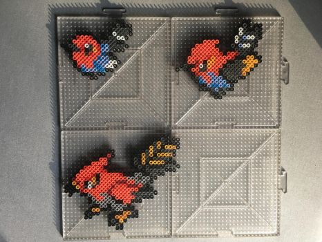 #661-#663 Fletchling Family Perlers by TehMorrison