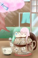 Relax with Luka and Miku by Hirukuneko