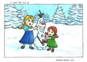 Xmas card for my sister - Tribute to Frozen :) by dreamsaddict