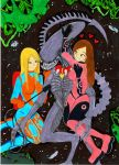 Maddie and London and their Pet Xenomorph by SonicPossible00