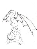 Dragon Commission 3 lineart -2nd attempt by Feanor-the-Dragon