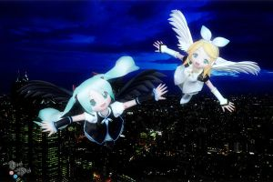 Miku and Rin Flight Over Tokyo by Axel-Doi