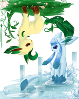 Glaceon and Leafeon by Effier-sxy
