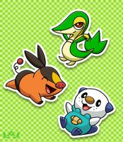 Unova Starters by Red-Flare