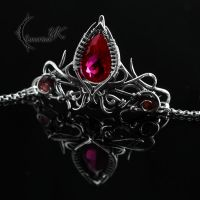 MYHNDRIALL - silver and red topaz by LUNARIEEN