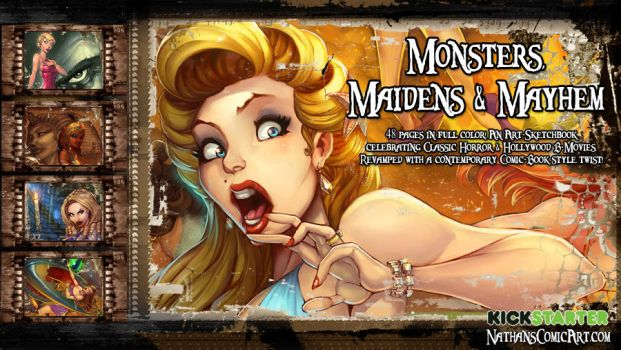 Monsters, Maidens and Mayhem KICKSTARTER preview by nathanscomicart