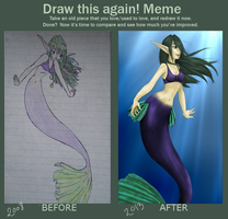 Draw It Again! Happy Mermaid by SilverFei