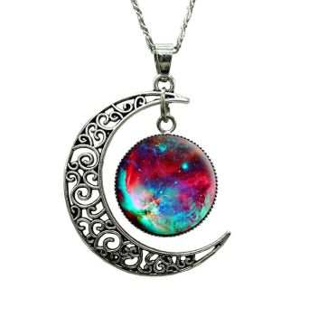 Cosmic Galaxy Moon Necklace by Crownholderemporium
