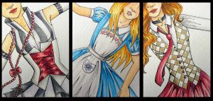 ATCs: Three Girls by Athalour