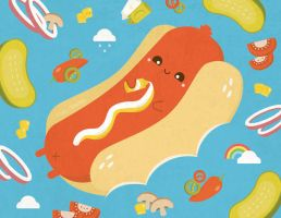 Tanning sausage on hot dog bun floaty by orangecircle