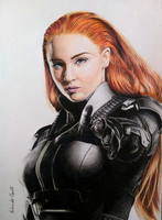 Jean Grey - Sophie Turner (Drawing) by EduardoCopati