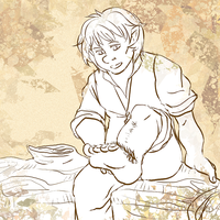 Bilbo and his fluffy feet by commandobunny