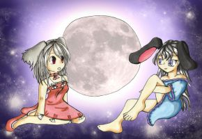 Rabbits on the moon by LunaticFlowerxX