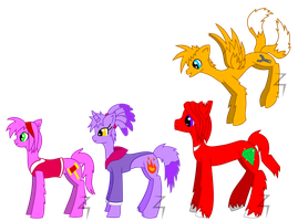 Amy, Blaze, Knuckles and Tails Ponies - Re-Styled by Spitfire-SOS
