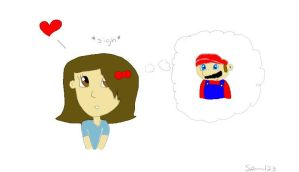 Mariana thinking about mario by MarioXMariana