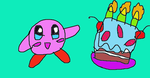 Kirby and his cake by SuperSmashCynderLum