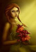 A Girl with Flowers by Aegileif